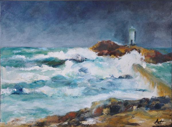 Grande marée à Trévignon - Acrylique sur toile 70 x 50 cm