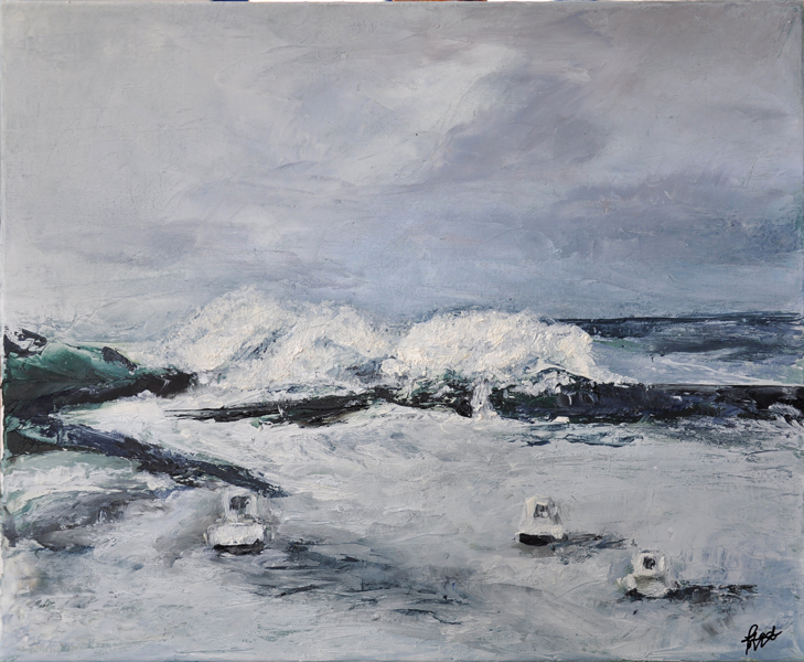 Tempête à la pointe - Huile sur toile 46 x 38 cm