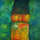 Buste de pommes - Huile sur toile 50x50 cm