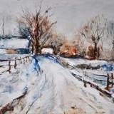 Chemin hivernal - Huile 65x50 cm