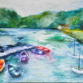 Barques colorées - Acrylique sur toile 65 x 50 cm