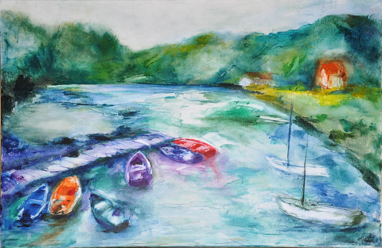Barques colorées - Acrylique sur toile